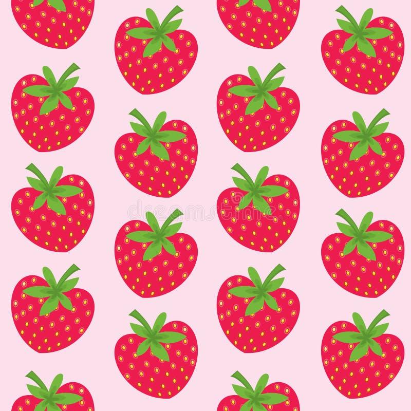 Naadloos patroon met aardbeien stock illustratie
