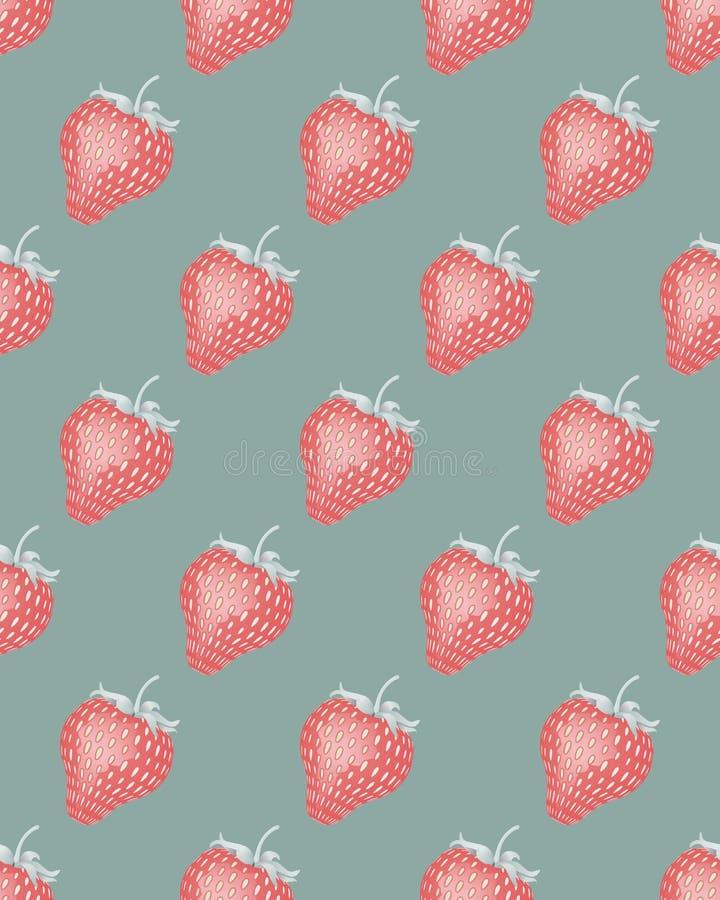 Naadloos patroon met aardbeien De tijd van de oogst Rijpe appel ter plaatse in een tuin van de appelboom Een heerlijk zoet desser stock illustratie