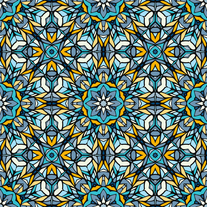 Naadloos patroon met abstract decoratief mozaïek stock illustratie