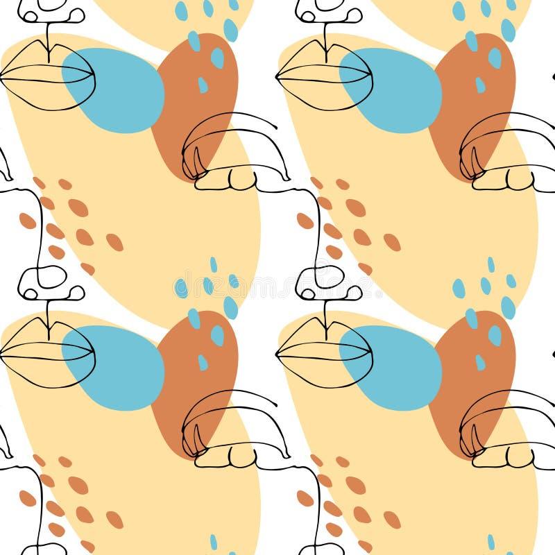 Naadloos patroon met abstract vormen en vrouwengezicht Overzichtsschets van vrouwenportret: lippen; neus; oog; wimpers vector illustratie