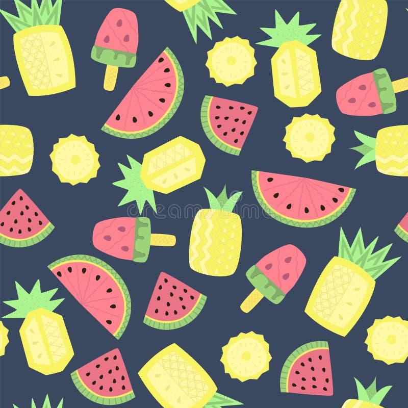 Naadloos patroon met abstract watermeloenen, ananassen en roomijs vector illustratie