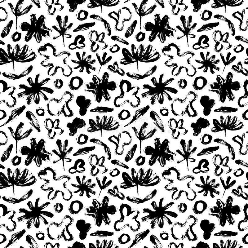 Naadloos patroon met abstracte bloemen, bladeren en amorfe vormen Vectorgrunge organische textuur stock illustratie
