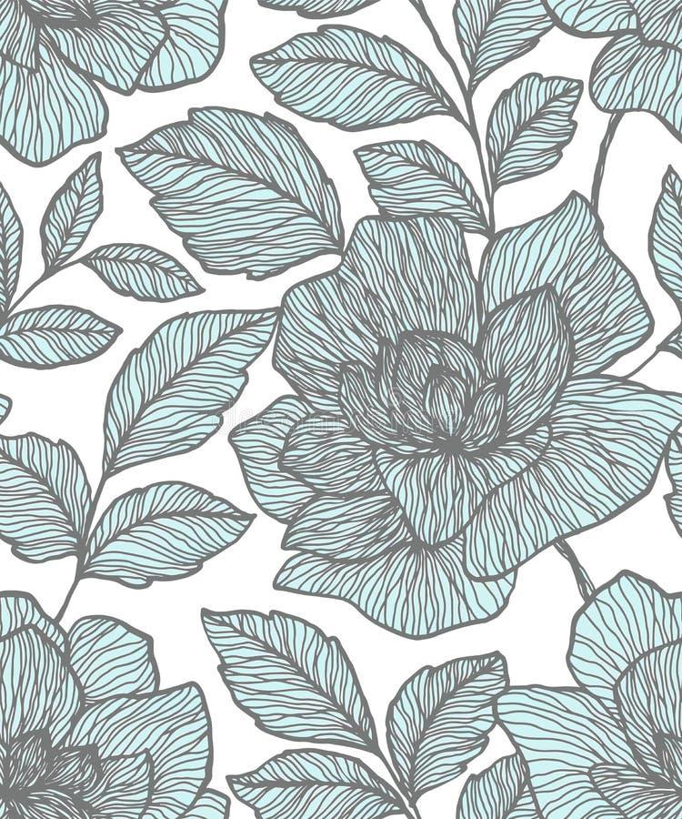 Naadloos patroon met abstracte bloemen Creatief bloemenoppervlakteontwerp Ontwerp voor stof, behang, het verpakken, dekking vector illustratie