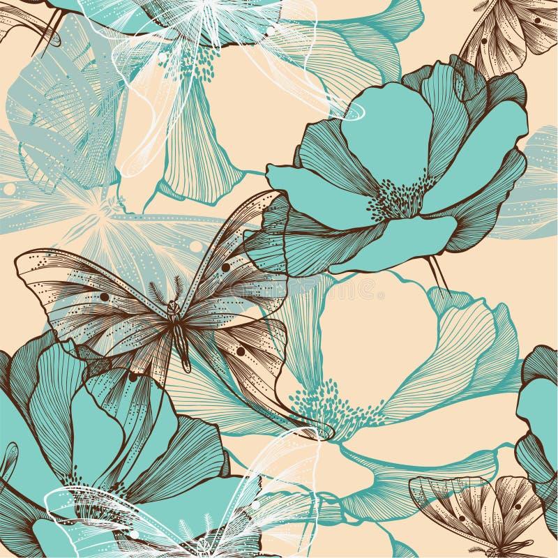 Naadloos patroon met abstracte bloemen en decorat stock illustratie