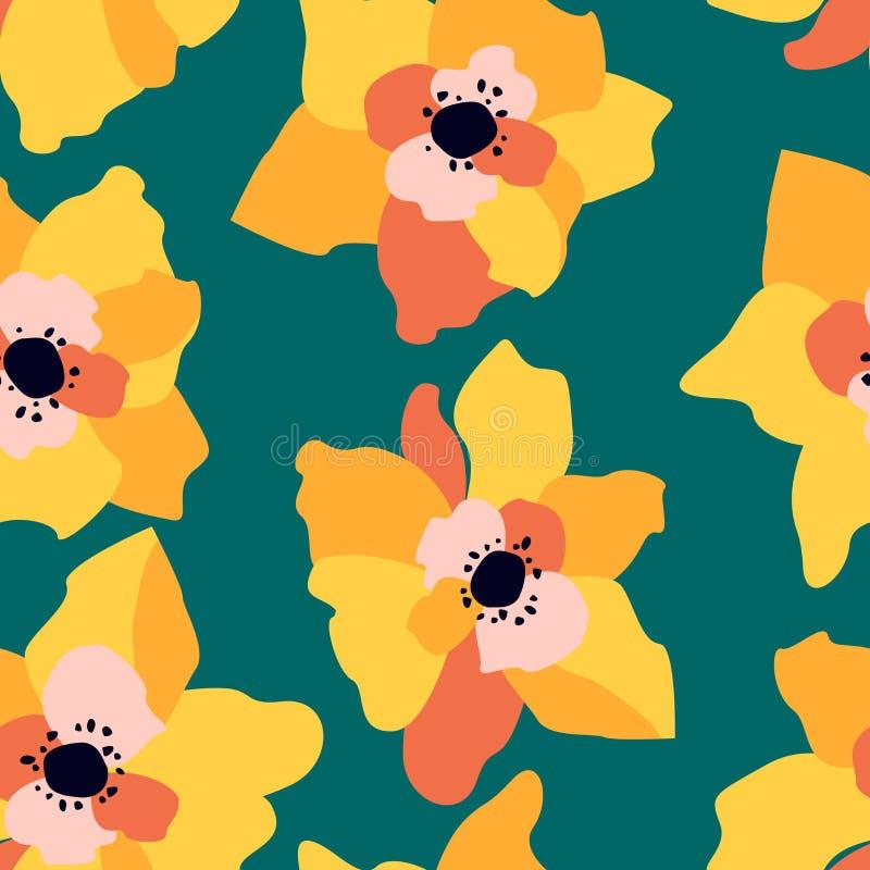 Naadloos patroon met abstracte bloemen Heldere BloemenAchtergrond royalty-vrije illustratie