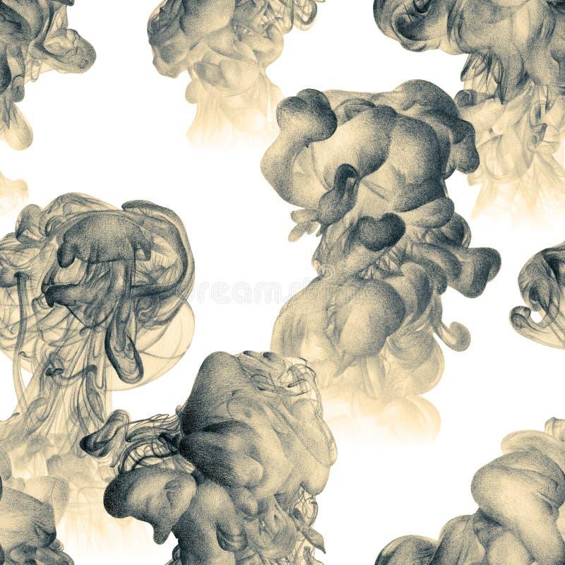 Naadloos patroon met abstracte die wolken van inkt met de hand worden getrokken met stock illustratie