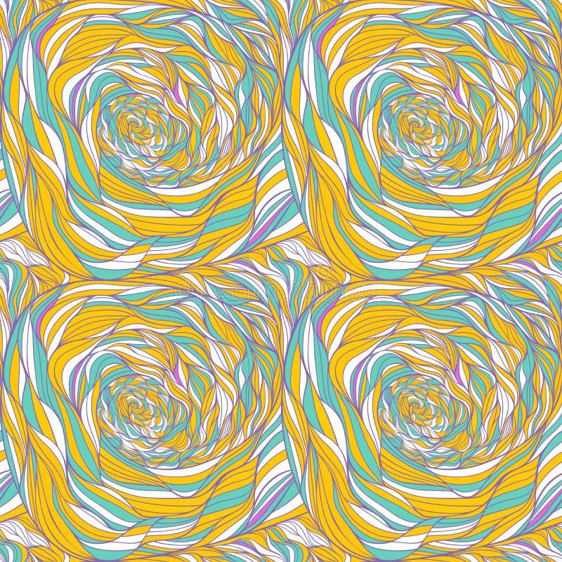 Naadloos patroon met abstracte hand-drawn golventextuur, golvende achtergrond royalty-vrije illustratie