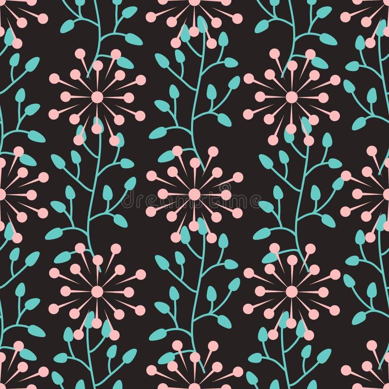 Naadloos patroon met abstracte ronde bloemen en installatieelementen stock illustratie