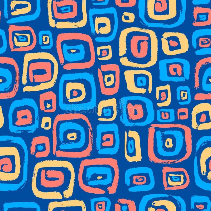 Naadloos patroon met abstracte vierkante elementen Hand getrokken artis vector illustratie