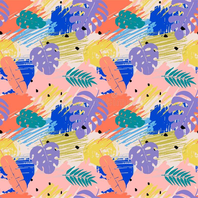 Naadloos patroon met abstracte waterverfvlekken, tropische bladeren vector illustratie