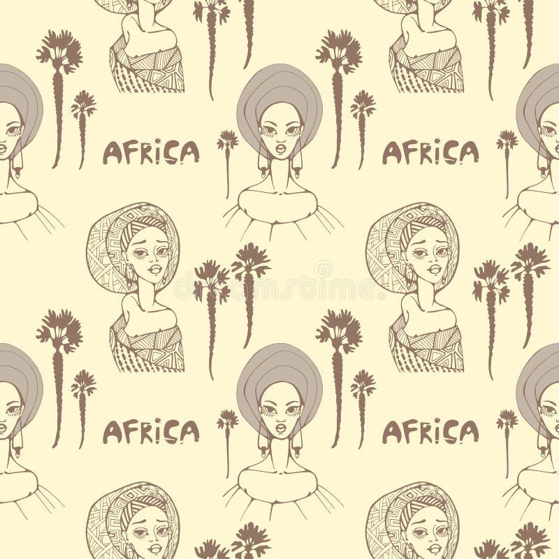 Naadloos patroon met Afrikaanse vrouwen in sjaal, palmen en inschrijving ` Afrika ` vector illustratie