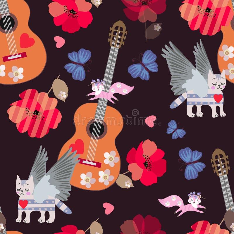 Naadloos patroon met akoestische gitaren, gevleugelde gestreepte katkatten, kleine het springen vossen, blauwe vlinders, harten e royalty-vrije illustratie