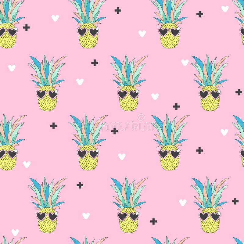 Naadloos patroon met Ananas in pop-artstijl vector illustratie