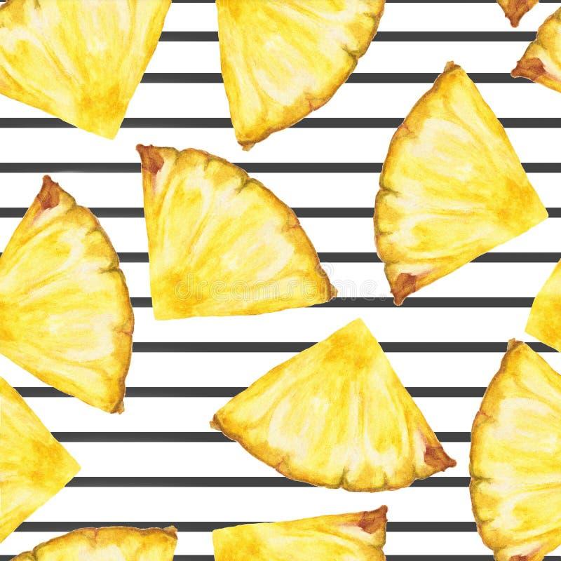 Naadloos patroon met ananasplakken op de zwarte streep royalty-vrije illustratie