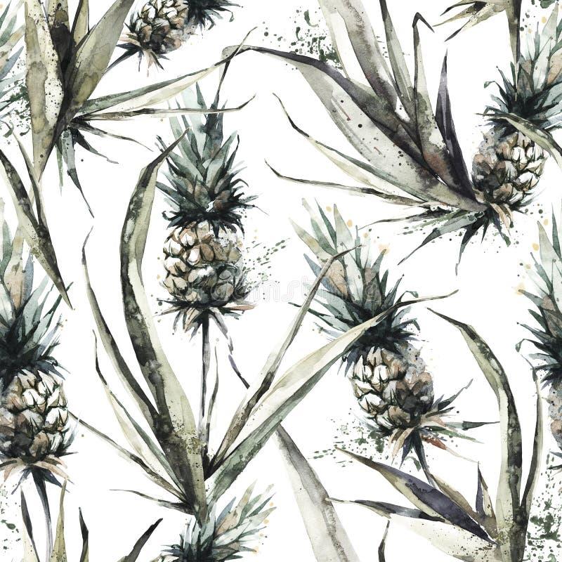 Naadloos patroon met ananassen en bladeren De tropische illustratie van de de zomerwaterverf Botanische textuur in bronsschaduwen stock illustratie