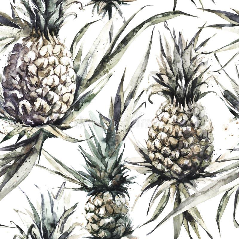 Naadloos patroon met ananassen en bladeren De tropische illustratie van de de zomerwaterverf Botanische textuur in bronsschaduwen royalty-vrije illustratie
