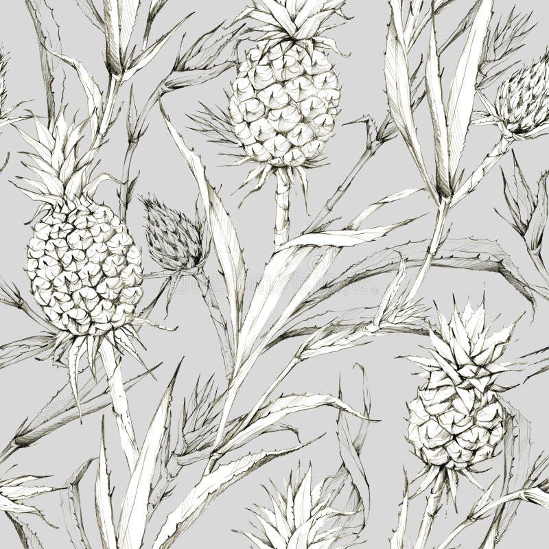 Naadloos patroon met ananassen en bladeren Tropische de zomer grafische illustratie Botanische textuur in beige schaduwen royalty-vrije illustratie