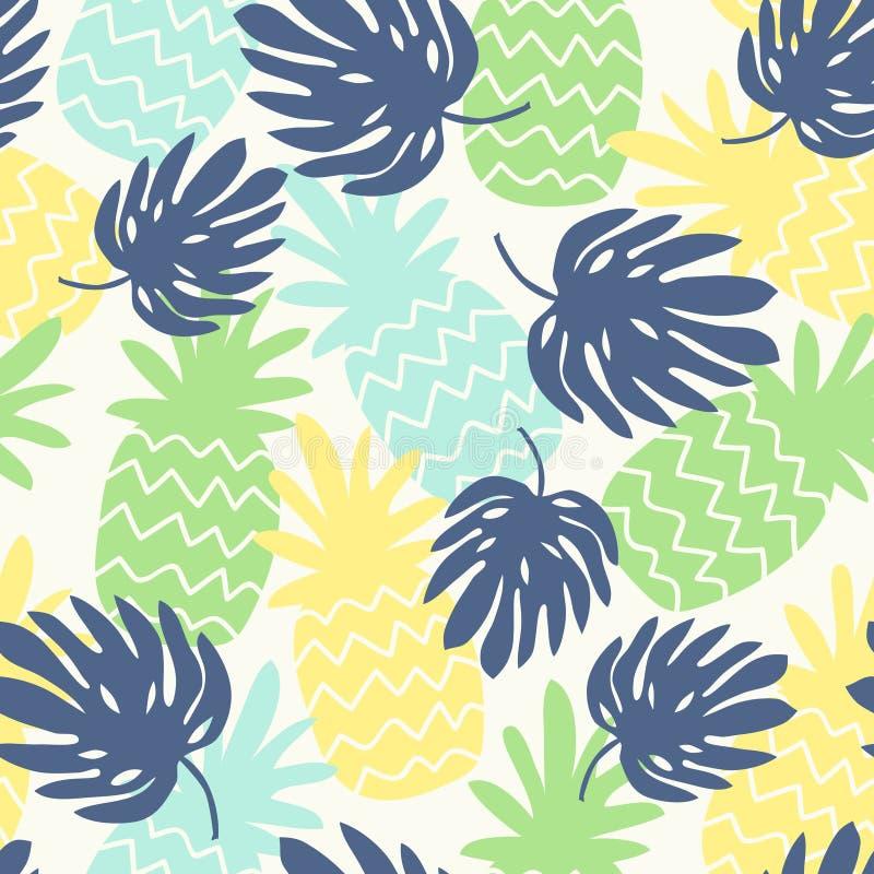 Naadloos patroon met ananassen en monsterabladeren royalty-vrije illustratie