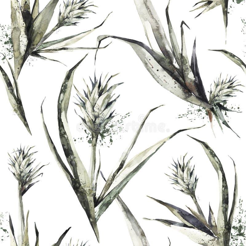 Naadloos patroon met ananasspruiten en bladeren De tropische illustratie van de de zomerwaterverf Botanische textuur in brons stock illustratie