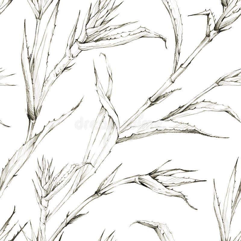 Naadloos patroon met ananasspruiten en bladeren Tropische de zomer grafische illustratie Botanische textuur in beige vector illustratie