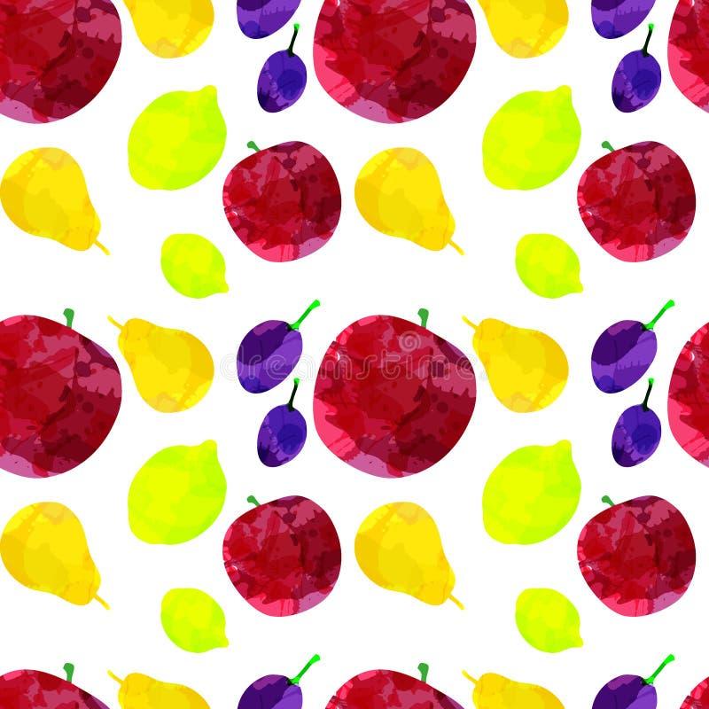 Naadloos patroon met appel, citroen, peer, pruim met vlekken en vlekken op een witte achtergrond Waterverfart. Creatief uit de vr royalty-vrije illustratie