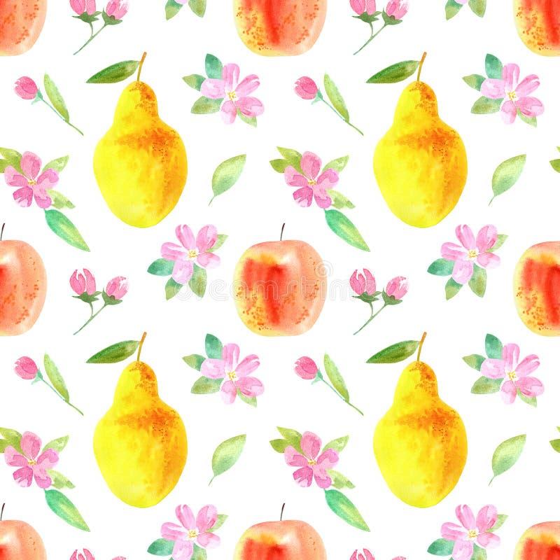 Naadloos patroon met appel, peer en bloem Voedselbeeld royalty-vrije illustratie