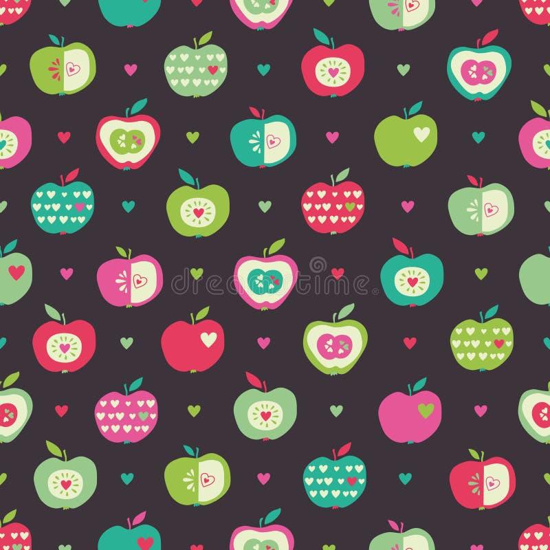 Naadloos patroon met appelen en harten royalty-vrije illustratie