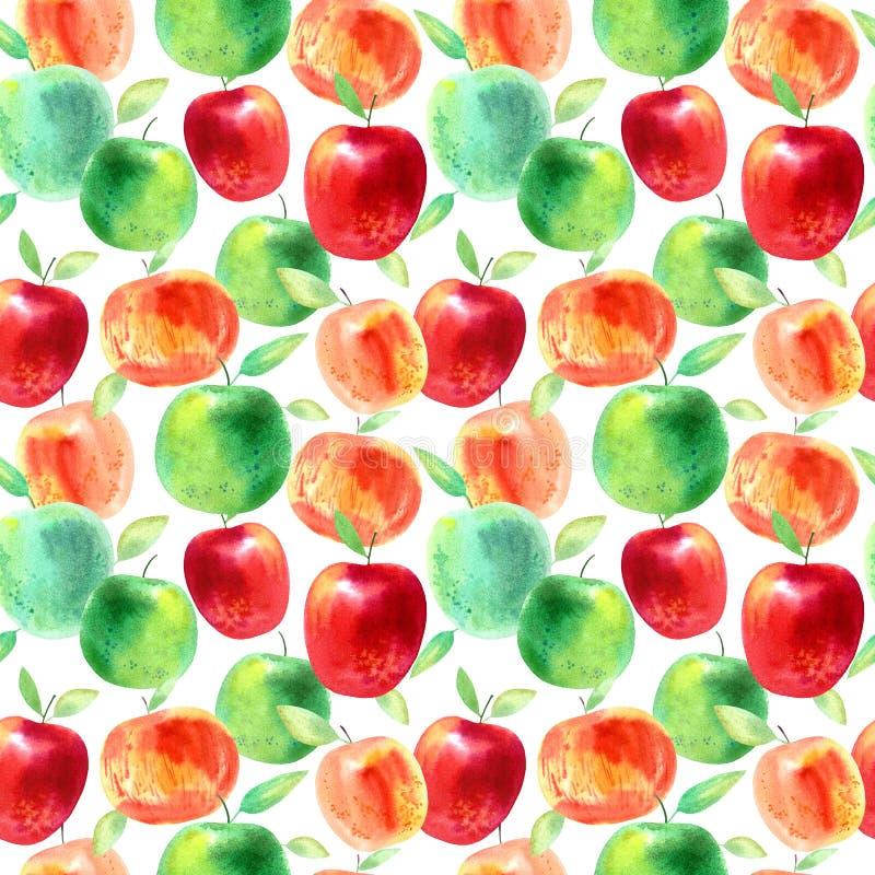 Naadloos patroon met appelen en zaden Voedselbeeld royalty-vrije illustratie