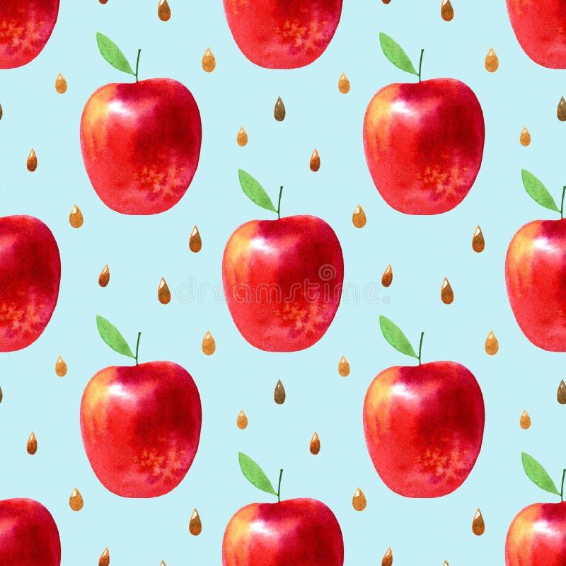 Naadloos patroon met appelen en zaden Voedselbeeld vector illustratie