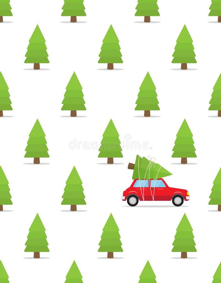 Naadloos patroon met auto en Kerstmisboom op het dak vector illustratie