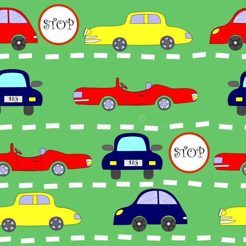 Naadloos patroon met auto's royalty-vrije illustratie