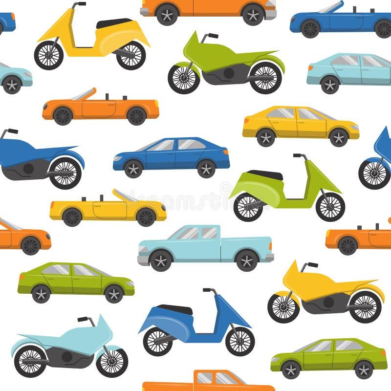 Naadloos patroon met auto's en motoren vector illustratie