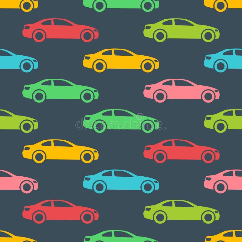 Naadloos patroon met auto's stock illustratie