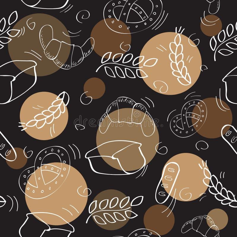 Naadloos patroon met bakkerijproducten royalty-vrije illustratie