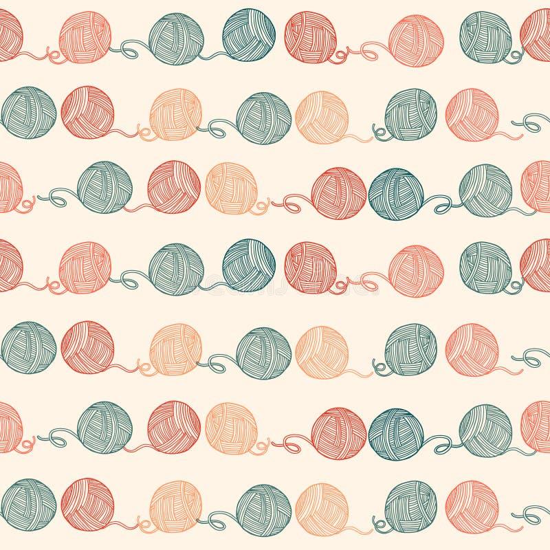 Naadloos patroon met ballen van garen Achtergrond in royalty-vrije illustratie