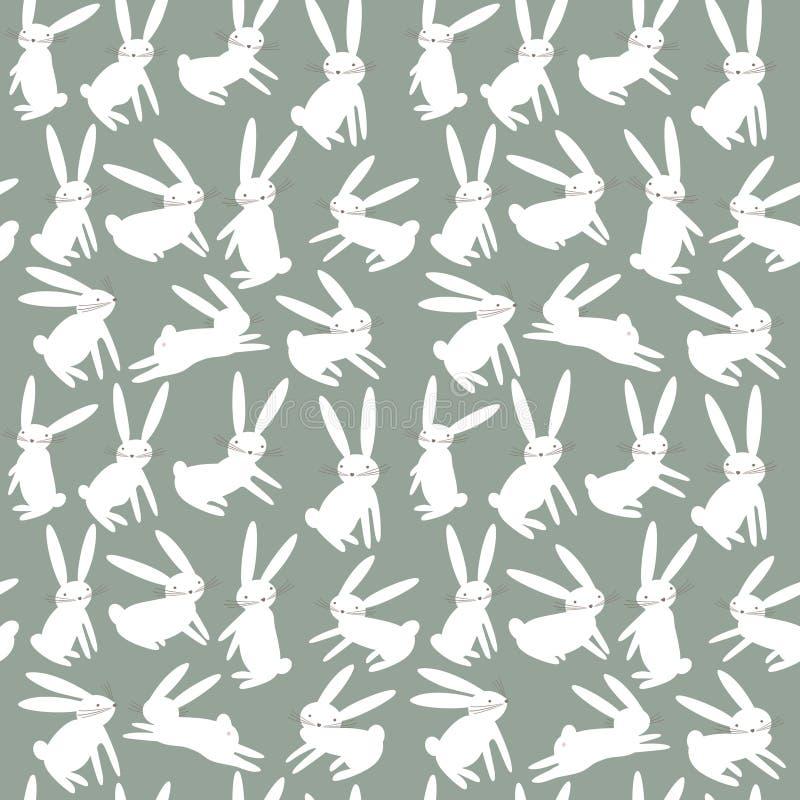 Naadloos patroon met beeldverhaal leuke witte konijnen stock illustratie