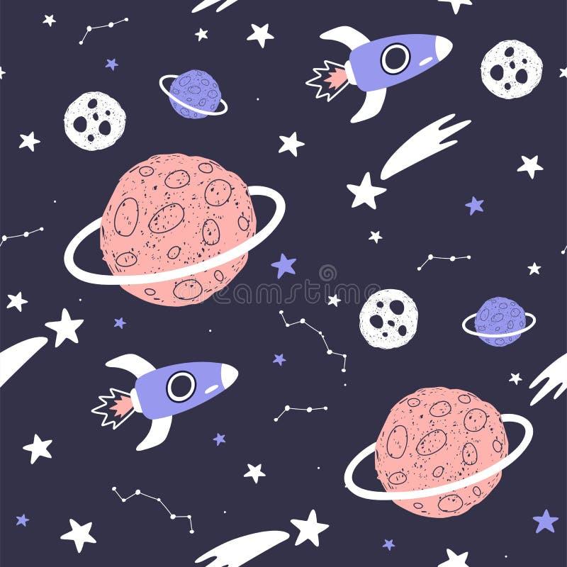 Naadloos patroon met beeldverhaalplaneten, sterren en kometen Ruimteachtergrond voor jonge geitjes Vector stock illustratie