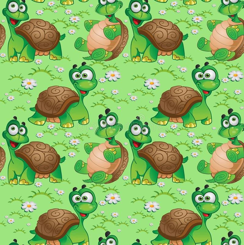 Naadloos patroon met beeldverhaalschildpadden royalty-vrije illustratie