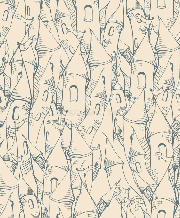 Naadloos patroon met beeldverhaaltorens stock illustratie