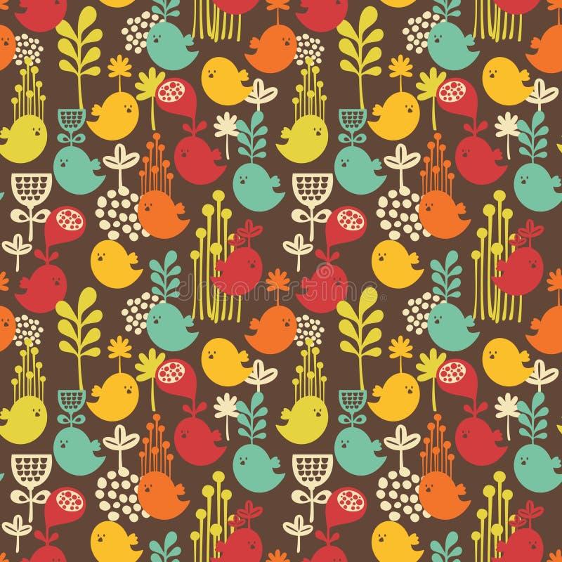 Naadloos patroon met beeldverhaalvogels. vector illustratie