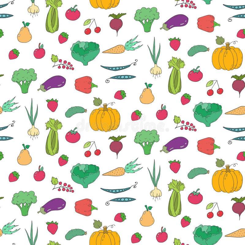 Naadloos patroon met beeldverhaalvruchten en groenten vector illustratie