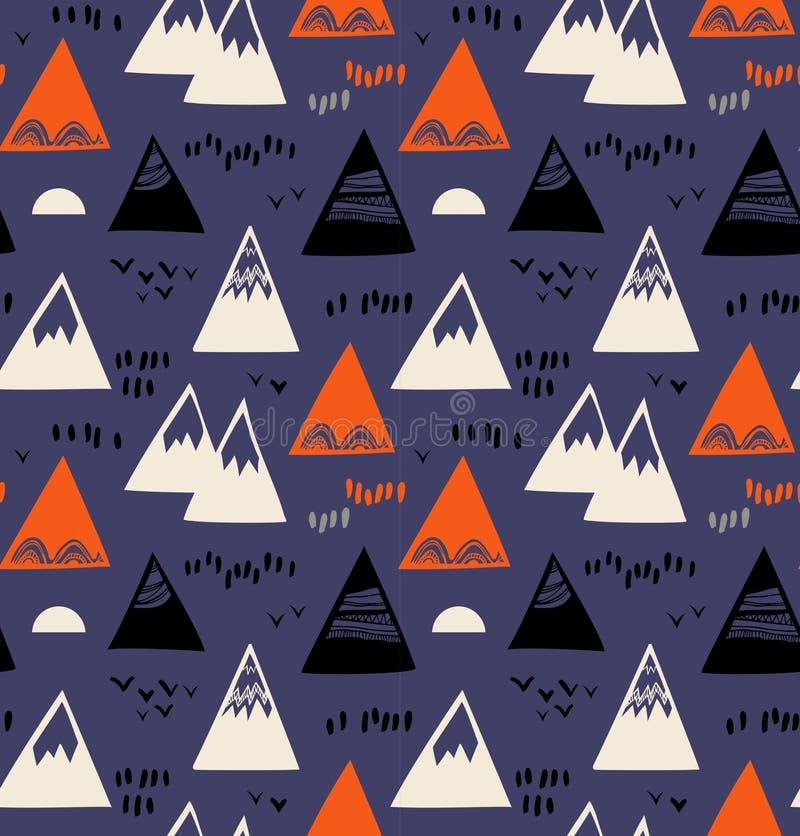 Naadloos patroon met bergen, rotsen in Skandinavische stijl Decoratieve achtergrond met landschapselementen royalty-vrije illustratie