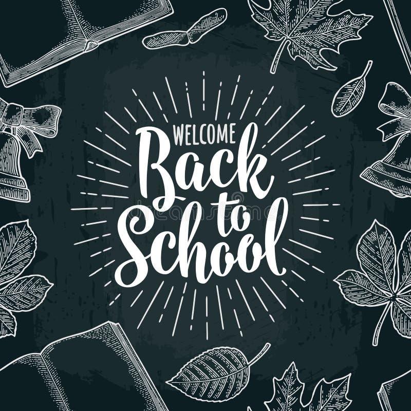 Naadloos patroon met blad, boek die, klok, terug naar School van letters voorzien stock illustratie