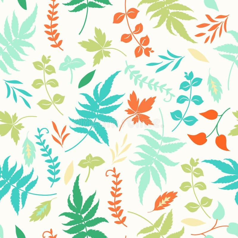 Naadloos patroon met bladeren royalty-vrije illustratie