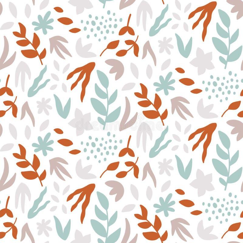 Naadloos patroon met bladeren Abstracte druk met hand getrokken installaties vector illustratie