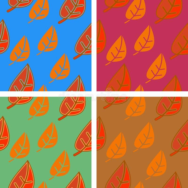 Naadloos patroon met bladeren op verschillende achtergronden stock afbeeldingen