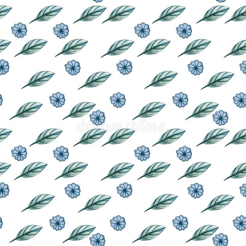 Naadloos patroon met bladeren op witte achtergrond royalty-vrije illustratie
