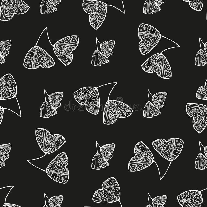 Naadloos patroon met bladeren van Ginkgo-biloba vector illustratie