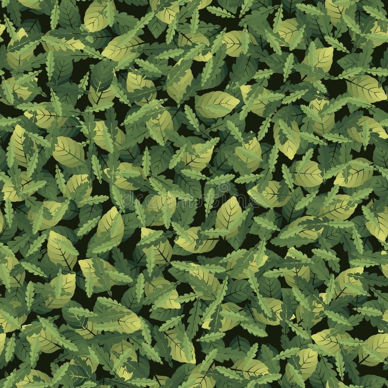 Naadloos patroon met bladeren van verschillende vormen stock illustratie