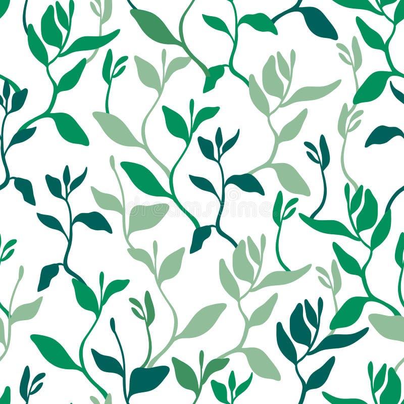 Naadloos patroon met bladeren, zaailingen Het tuinieren, het groeien installaties Achtergrond voor oppervlakten vector illustratie